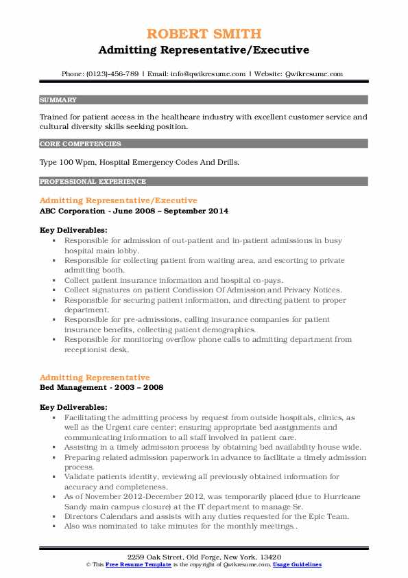 Admitting Representative/Executive Resume Model