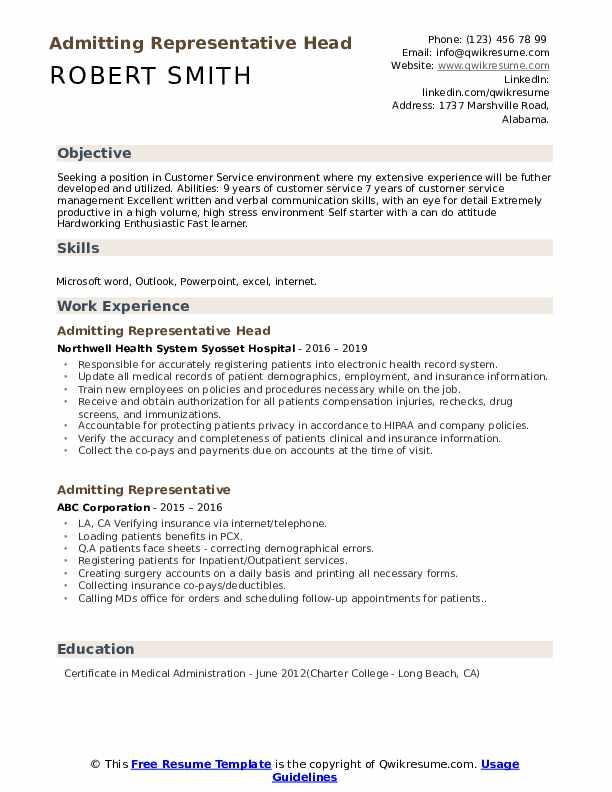 Admitting Representative Head Resume Model
