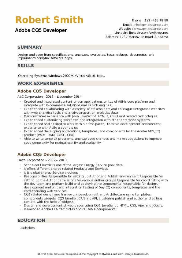 Adobe CQ5 Developer Resume example