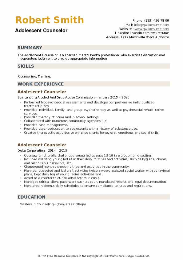 Adolescent Counselor Resume example