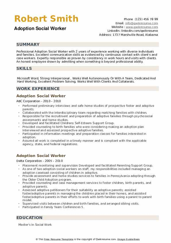 Adoption Social Worker Resume example