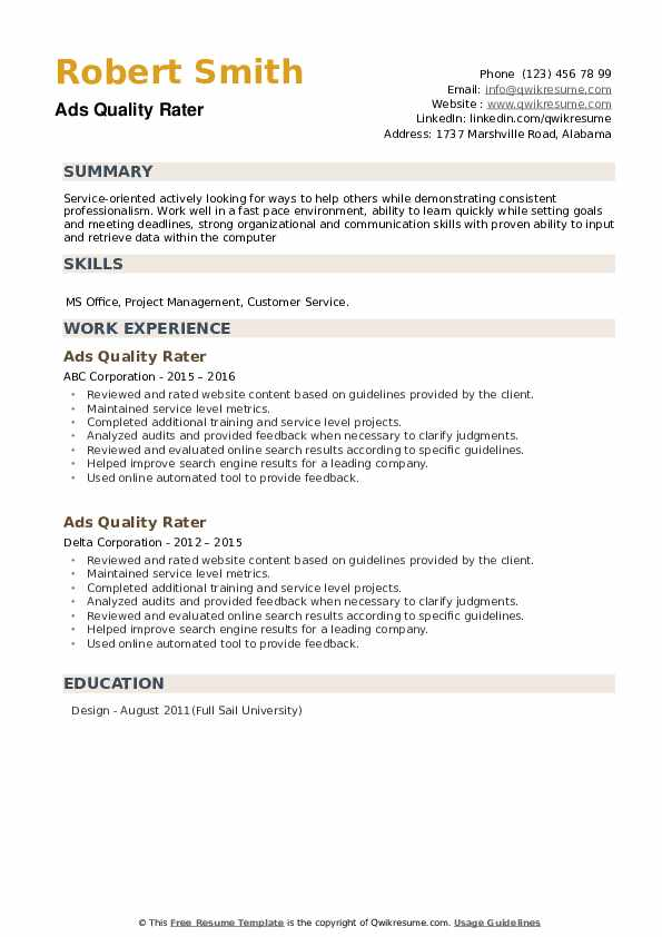 Ads Quality Rater Resume example