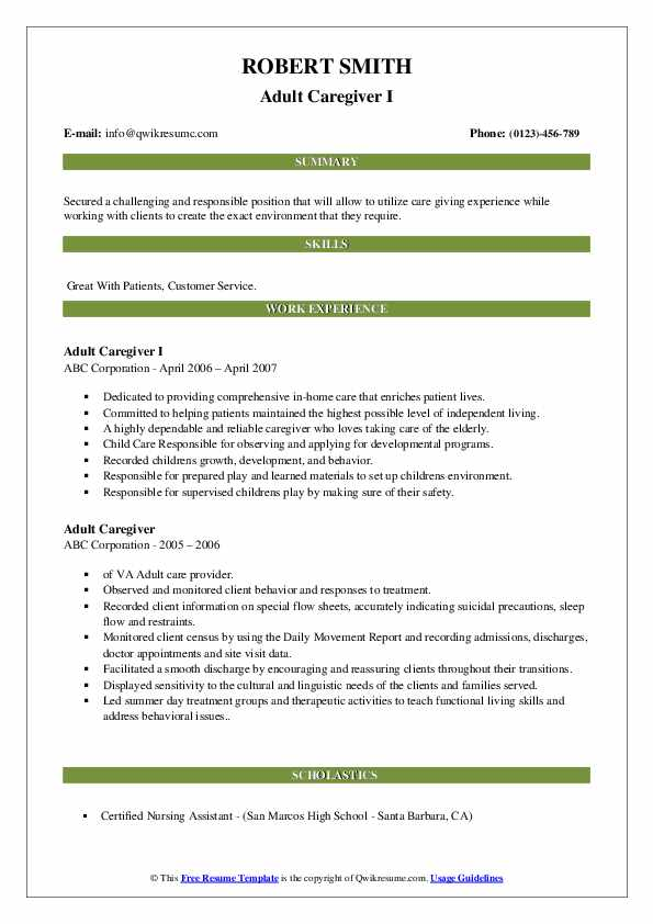 Adult Caregiver Resume Samples Qwikresume