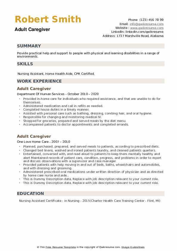 Adult Caregiver Resume example