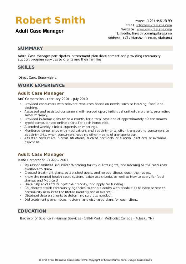 Adult Case Manager Resume example