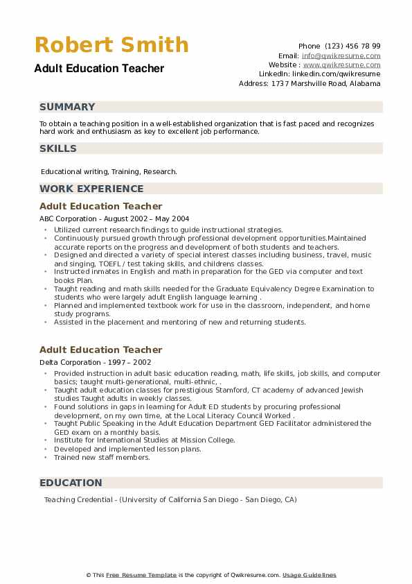 Adult Education Teacher Resume example