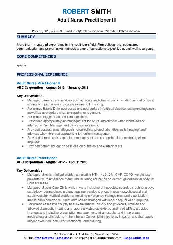 Adult Nurse Practitioner III Resume Model