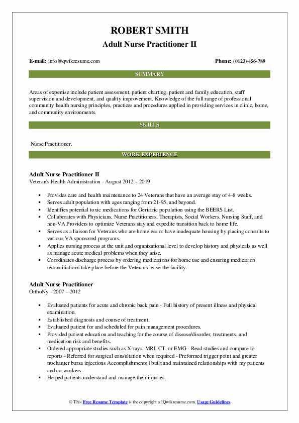Adult Nurse Practitioner II Resume Model