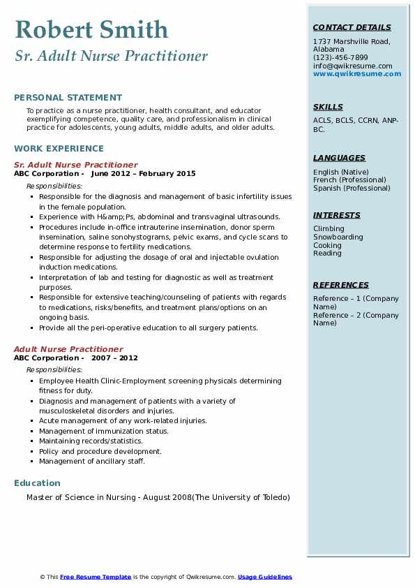adult nurse practitioner resume samples