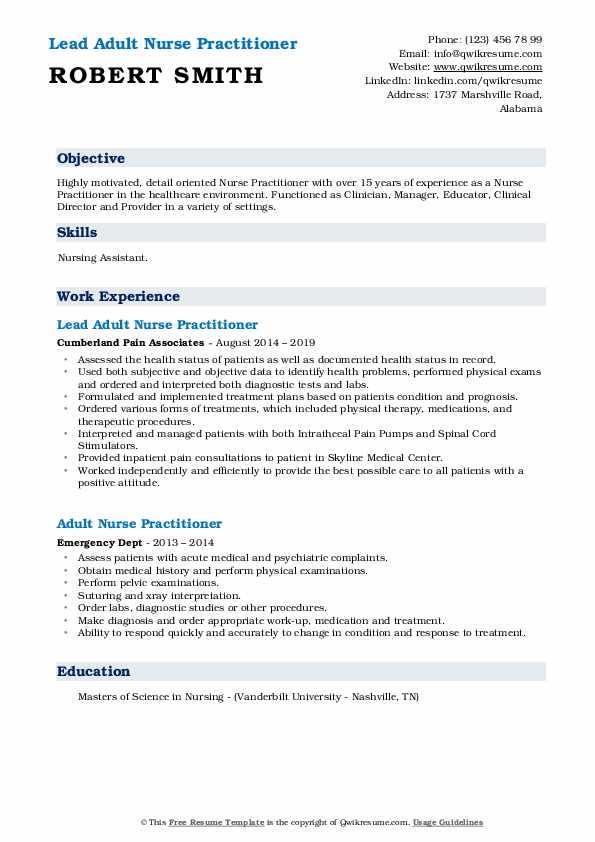 Lead Adult Nurse Practitioner Resume Template
