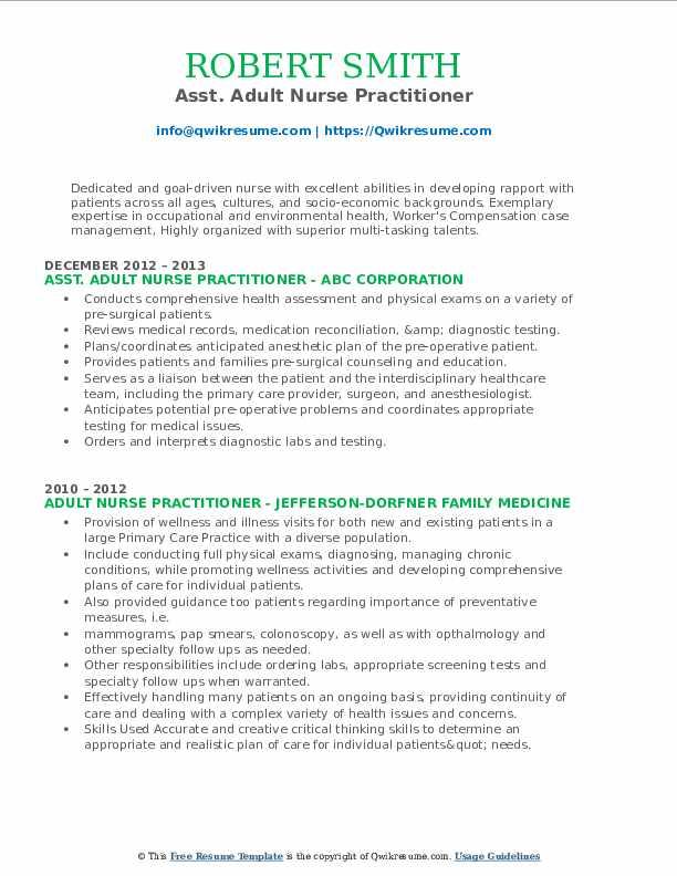 Asst. Adult Nurse Practitioner Resume Example