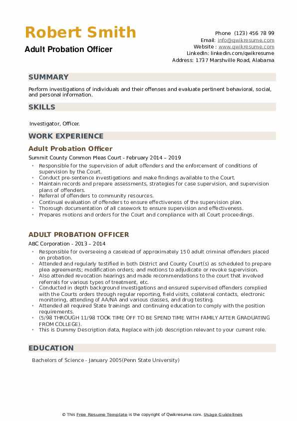 Adult Probation Officer Resume example