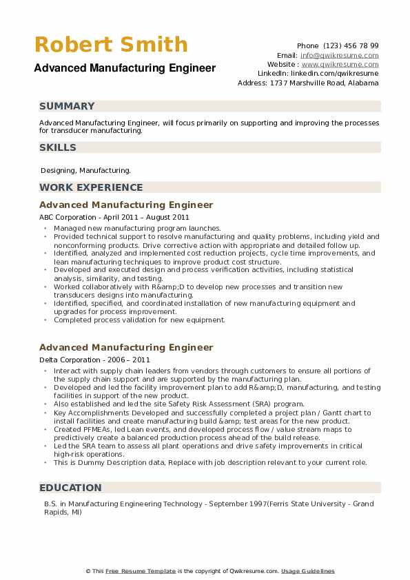 Advanced Manufacturing Engineer Resume example