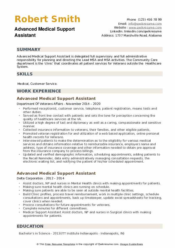 Advanced Medical Support Assistant Resume example