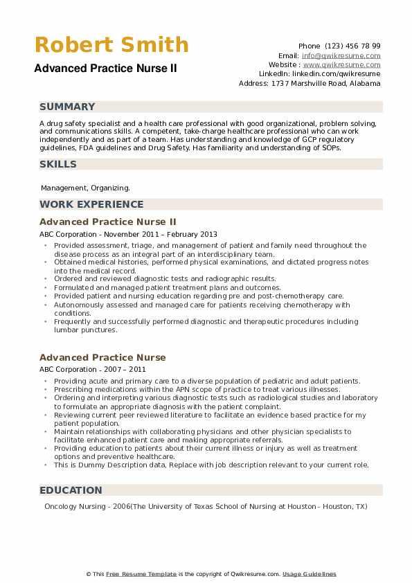 Advanced Practice Nurse Resume example
