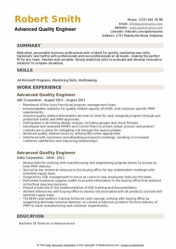 Advanced Quality Engineer Resume example