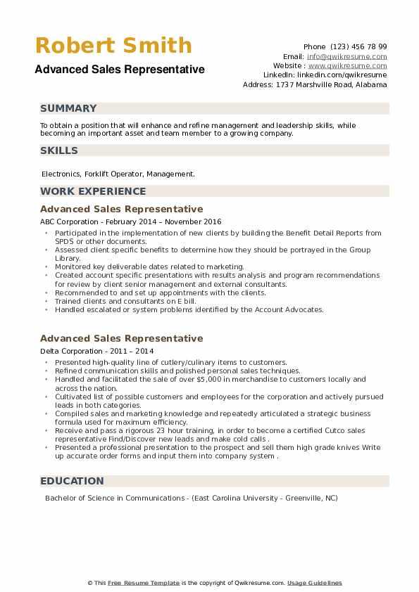 Advanced Sales Representative Resume example