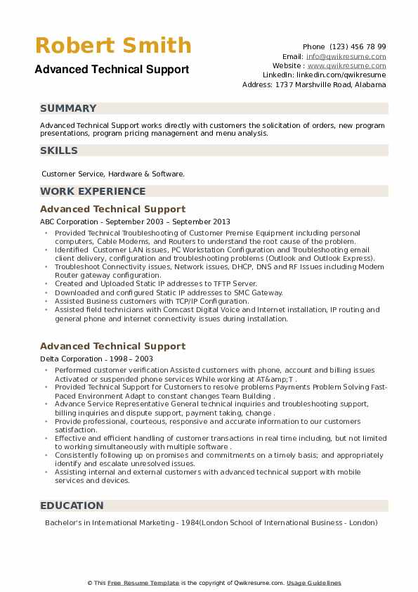 Advanced Technical Support Resume example