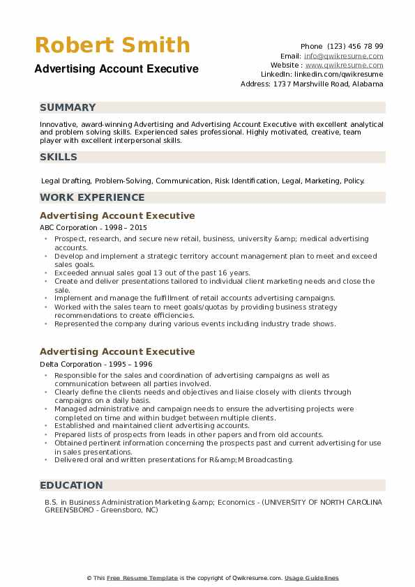 Advertising Account Executive Resume example