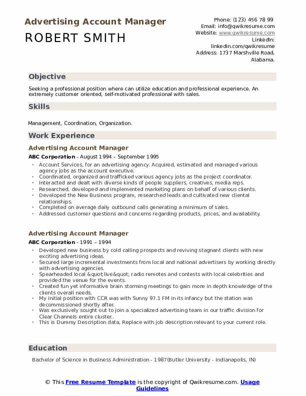 Advertising Account Manager Resume example