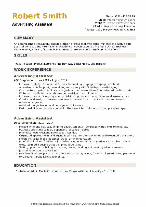 Advertising Assistant Resume example