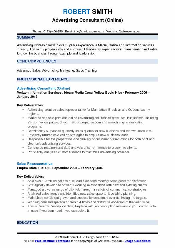 Advertising Consultant (Online) Resume Example