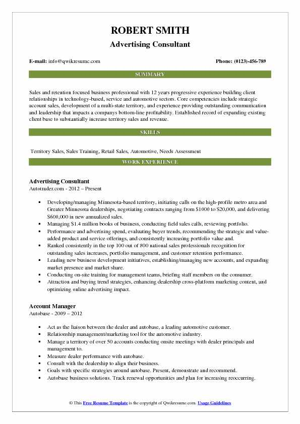 Advertising Consultant Resume Sample