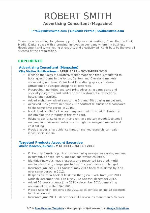 Advertising Consultant (Magazine) Resume Example
