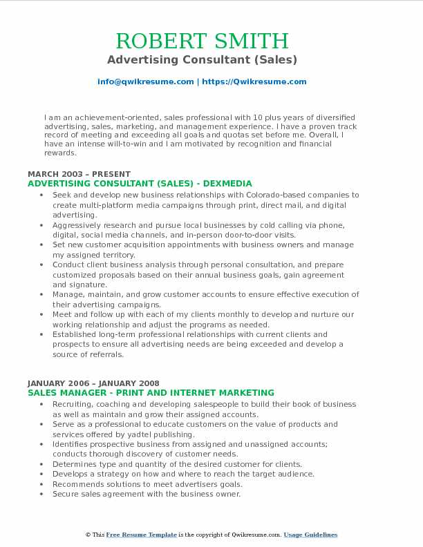 Advertising Consultant (Sales) Resume Example