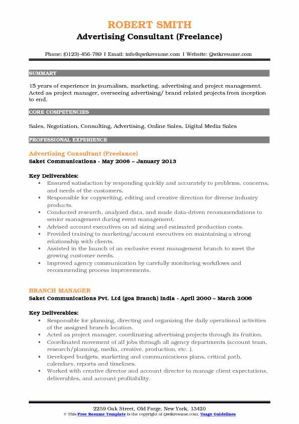 Advertising Consultant (Freelance) Resume Sample