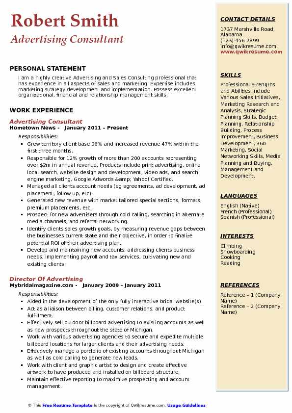 Advertising Consultant Resume Model