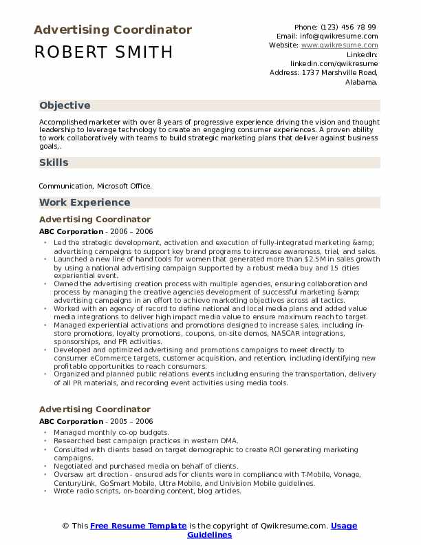 Advertising Coordinator Resume Sample