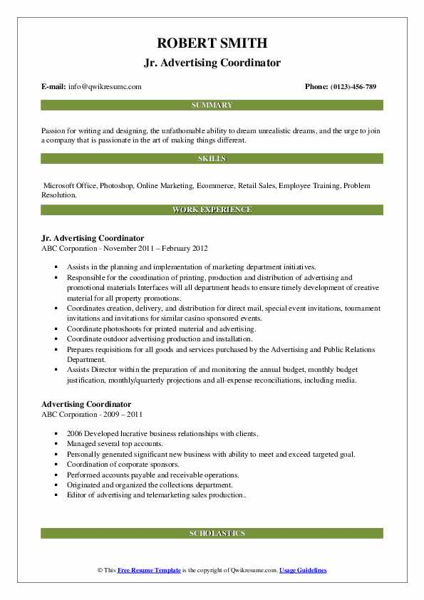 Jr. Advertising Coordinator Resume Sample