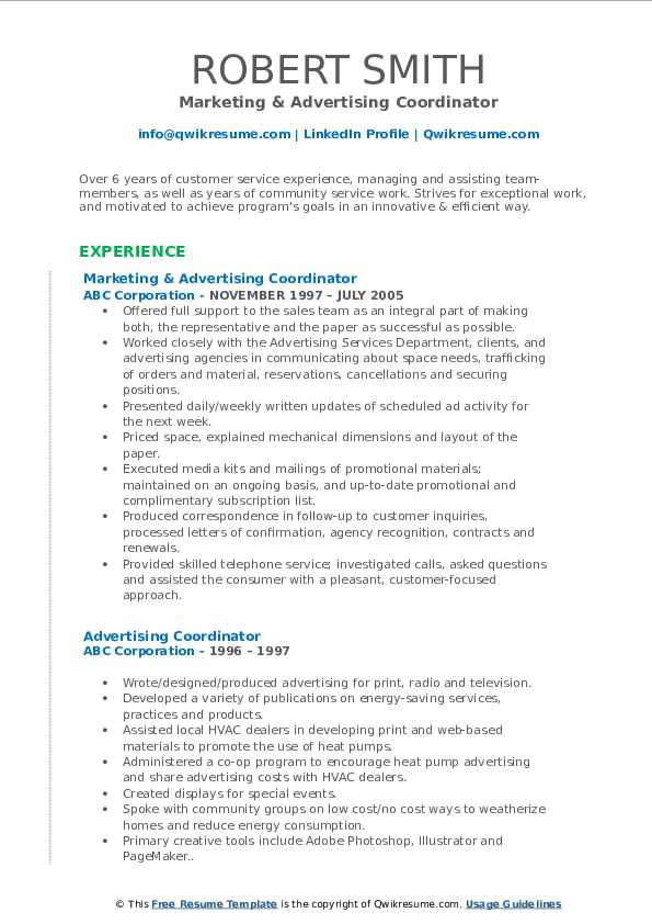 Marketing & Advertising Coordinator Resume Example