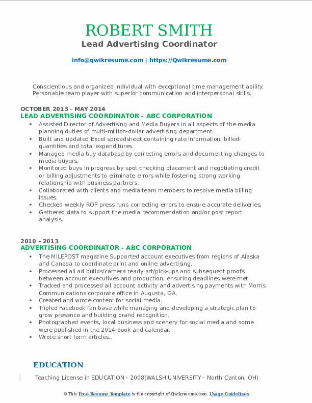 Lead Advertising Coordinator Resume Sample