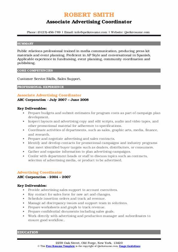 Associate Advertising Coordinator Resume Template