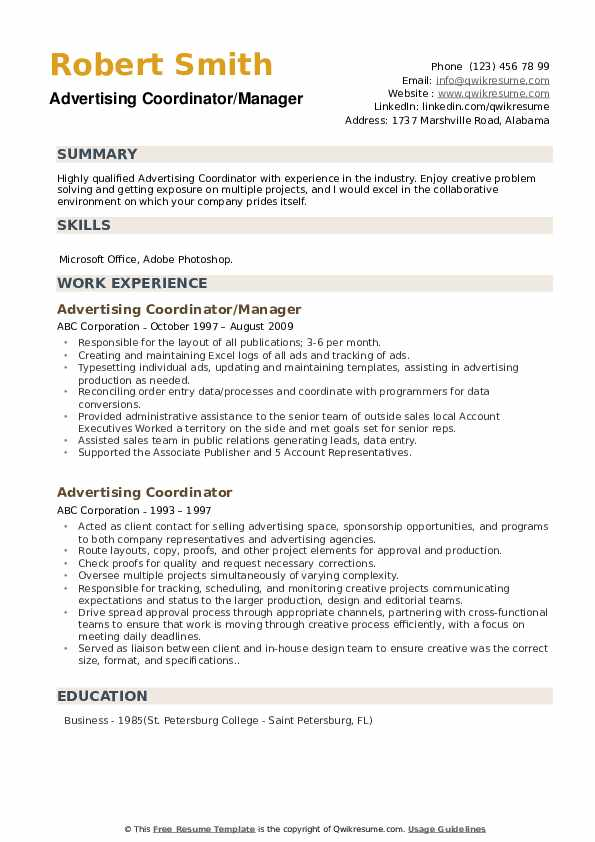 Advertising Coordinator/Manager Resume Example
