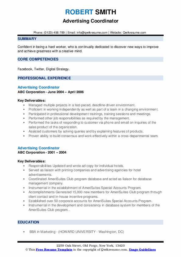 Advertising Coordinator Resume example