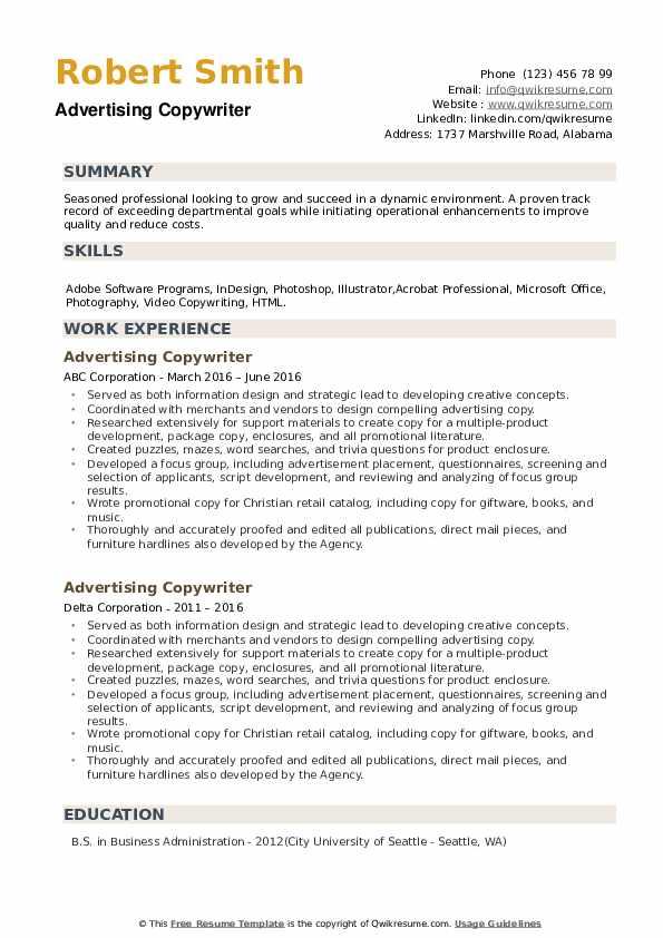 Advertising Copywriter Resume example