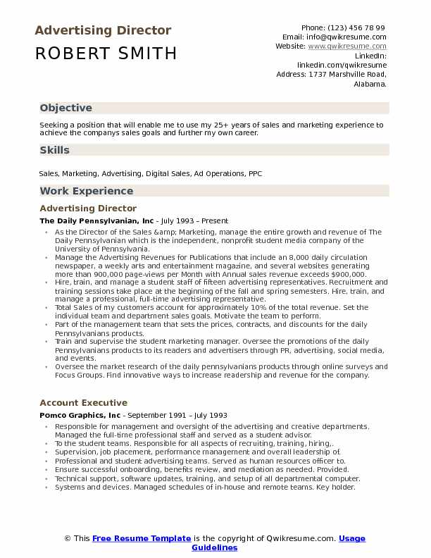 Advertising Director Resume Sample