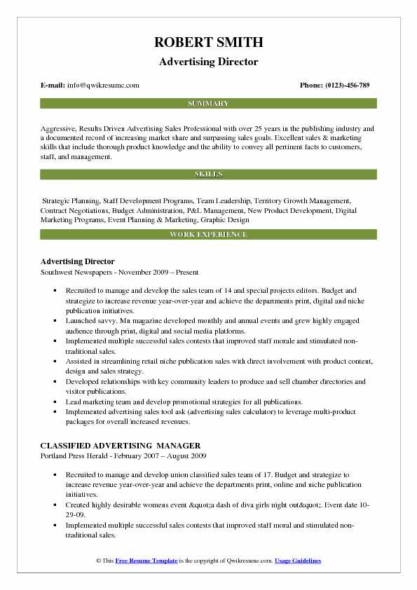 Advertising Director Resume Model