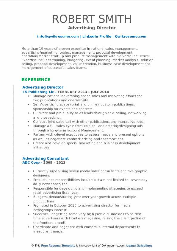 Advertising Director Resume Format