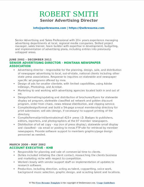 Senior Advertising Director Resume Format