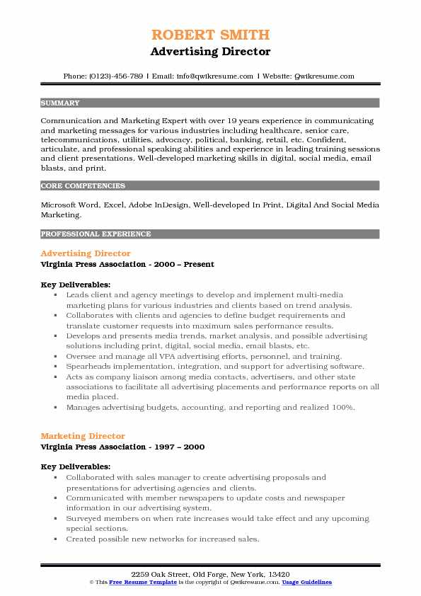 Advertising Director Resume Samples