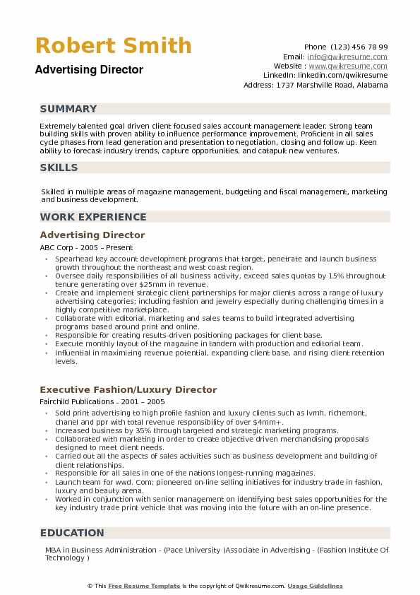 Advertising Director Resume example