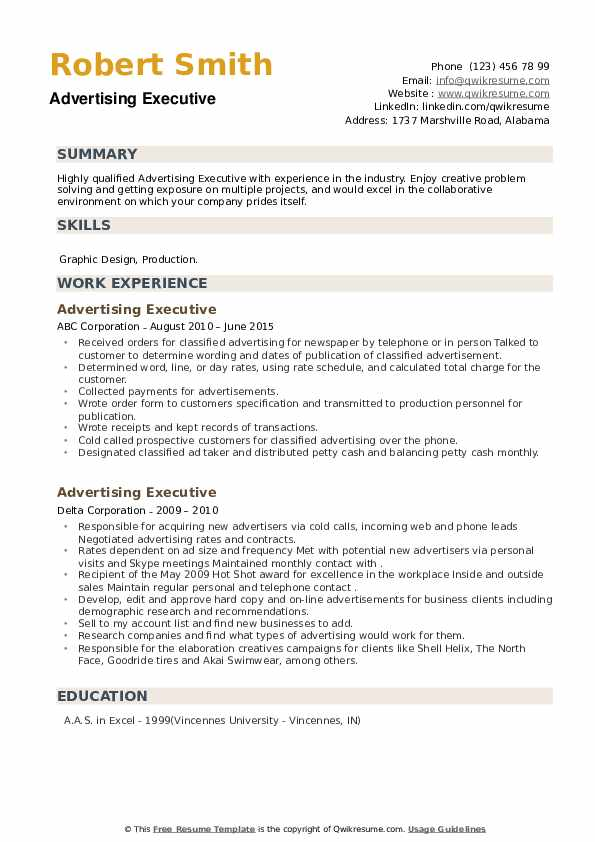 Advertising Executive Resume example