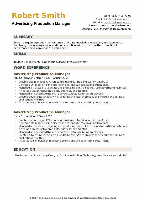 Advertising Production Manager Resume example