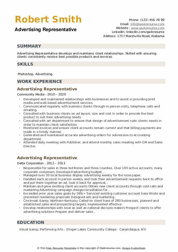 Advertising Representative Resume example