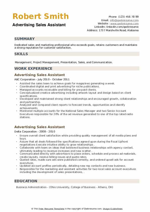 Advertising Sales Assistant Resume example