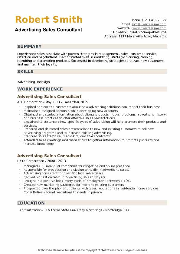 Advertising Sales Consultant Resume example